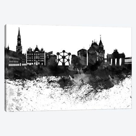 Brussels Black & White Drops Skyline Canvas Print #WDA1131} by WallDecorAddict Canvas Artwork