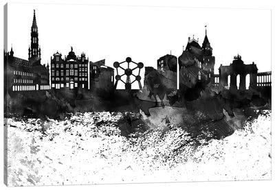 Brussels Black & White Drops Skyline Canvas Art Print