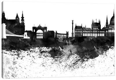 Budapest Black & White Drops Skyline Canvas Art Print