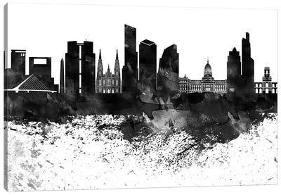 Buenos Aires Black & White Drops Skyline Canvas Art Print