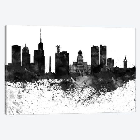 Buffalo Black & White Drops Skyline Canvas Print #WDA1134} by WallDecorAddict Canvas Art Print