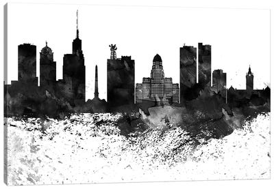 Buffalo Black & White Drops Skyline Canvas Art Print