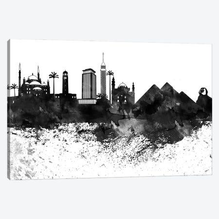 Cairo Black & White Drops Skyline Canvas Print #WDA1135} by WallDecorAddict Canvas Art Print