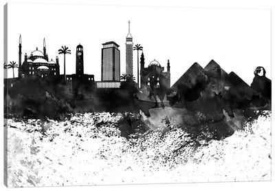 Cairo Black & White Drops Skyline Canvas Art Print