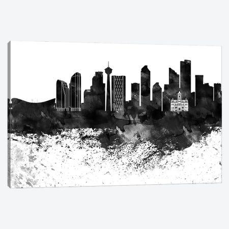 Calgary Black & White Drops Skyline Canvas Print #WDA1136} by WallDecorAddict Canvas Art Print