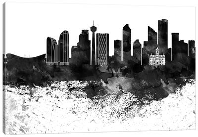 Calgary Black & White Drops Skyline Canvas Art Print