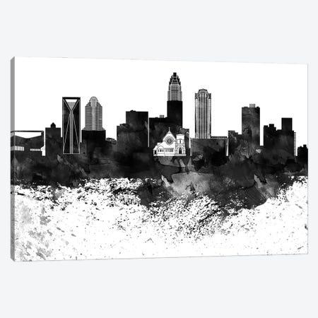 Charlotte Black & White Drops Skyline Canvas Print #WDA1139} by WallDecorAddict Canvas Wall Art
