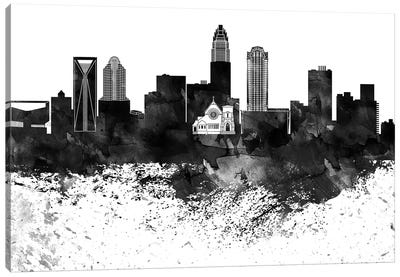 Charlotte Black & White Drops Skyline Canvas Art Print