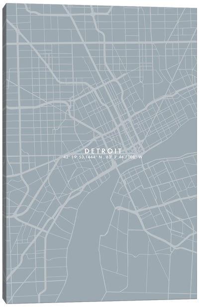 Detroit City Map Simple Color Canvas Art Print