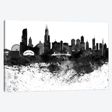 Chicago Black & White Drops Skyline Canvas Print #WDA1140} by WallDecorAddict Canvas Art Print