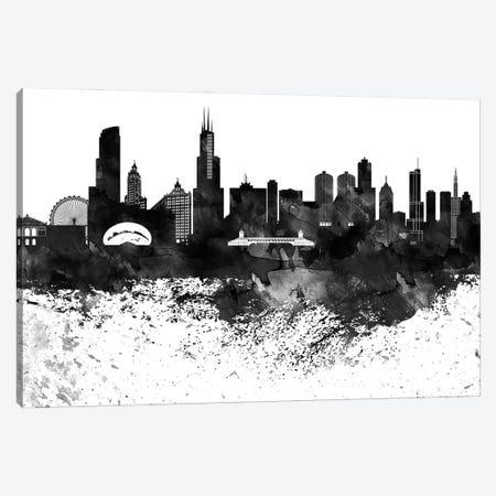 Chicago Black & White Drops Skyline Canvas Print #WDA1140} by WallDecorAddict Canvas Art Print