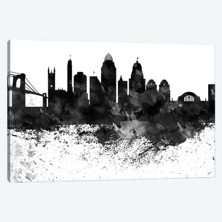 Cincinnati Black & White Drops Skyline Canvas Print #WDA1141} by WallDecorAddict Canvas Print