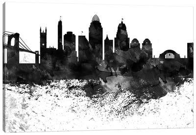 Cincinnati Black & White Drops Skyline Canvas Art Print
