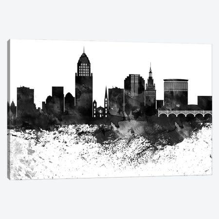 Cleveland Black & White Drops Skyline Canvas Print #WDA1142} by WallDecorAddict Art Print