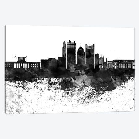 Columbus Black & White Drops Skyline Canvas Print #WDA1144} by WallDecorAddict Canvas Art