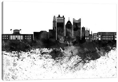 Columbus Black & White Drops Skyline Canvas Art Print