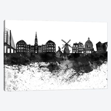 Copenhagen Black & White Drops Skyline Canvas Print #WDA1145} by WallDecorAddict Canvas Art
