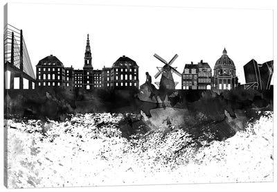 Copenhagen Black & White Drops Skyline Canvas Art Print