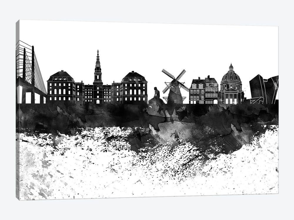 Copenhagen Black & White Drops Skyline by WallDecorAddict 1-piece Canvas Wall Art