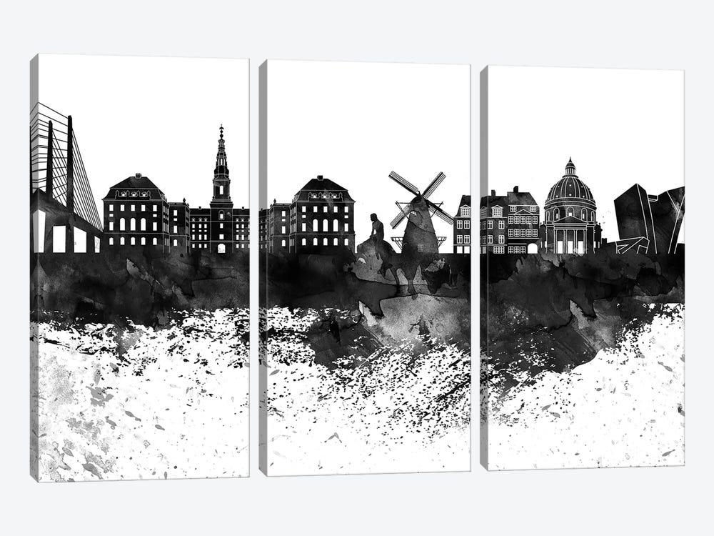 Copenhagen Black & White Drops Skyline by WallDecorAddict 3-piece Canvas Art