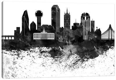 Dallas Black & White Drops Skyline Canvas Art Print