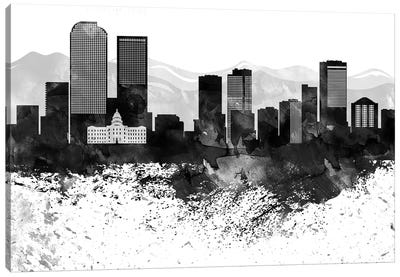 Denver Black & White Drops Skyline Canvas Art Print