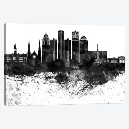 Detroit Black & White Drops Skyline Canvas Print #WDA1149} by WallDecorAddict Canvas Art Print