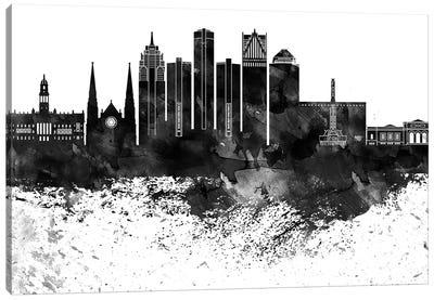 Detroit Black & White Drops Skyline Canvas Art Print