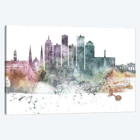 Detroit Pastel Skylines Canvas Print #WDA114} by WallDecorAddict Canvas Wall Art