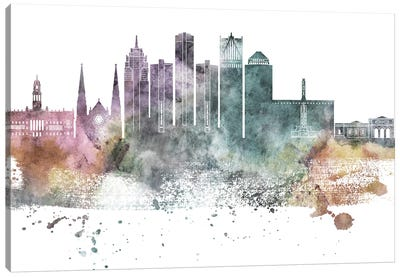 Detroit Pastel Skylines Canvas Art Print