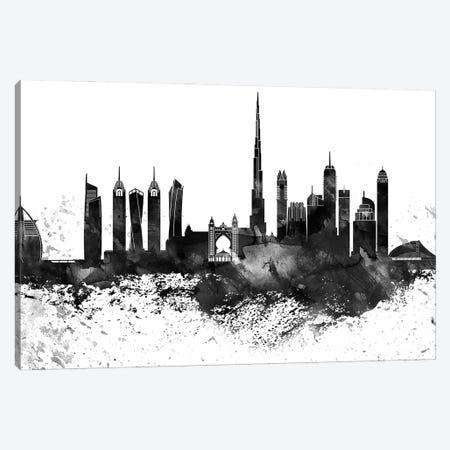 Dubai Black & White Drops Skyline Canvas Print #WDA1150} by WallDecorAddict Canvas Wall Art