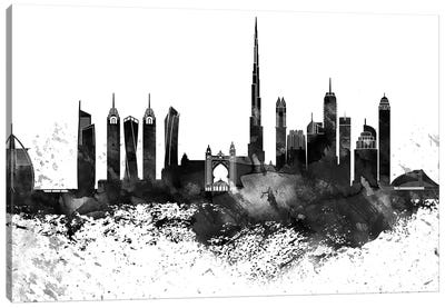 Dubai Black & White Drops Skyline Canvas Art Print