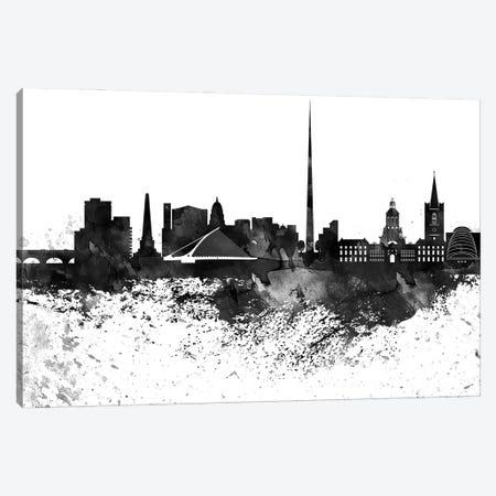 Dublin Black & White Drops Skyline Canvas Print #WDA1151} by WallDecorAddict Canvas Artwork