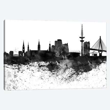 Dusseldorf Black & White Drops Skyline Canvas Print #WDA1152} by WallDecorAddict Canvas Art