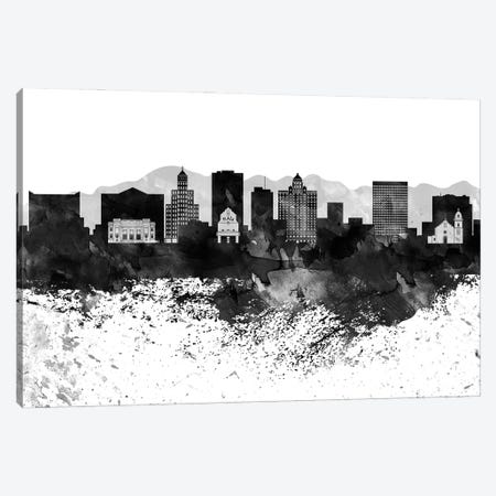 El Paso Black & White Drops Skyline Canvas Print #WDA1155} by WallDecorAddict Canvas Art Print