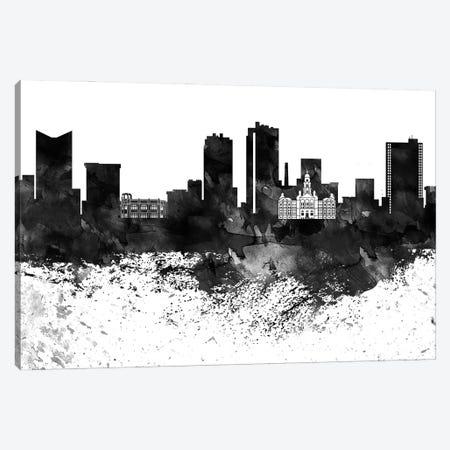 Fort Worth Black & White Drops Skyline Canvas Print #WDA1157} by WallDecorAddict Canvas Art Print
