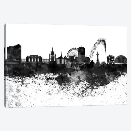 Geneva Black & White Drops Skyline Canvas Print #WDA1158} by WallDecorAddict Canvas Art