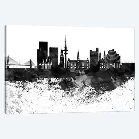 Hamburg Black & White Drops Skyline Canvas Print #WDA1162} by WallDecorAddict Canvas Art Print