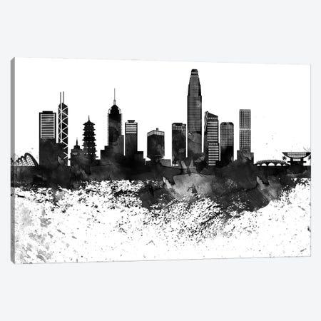 Hong Kong Black & White Drops Skyline Canvas Print #WDA1165} by WallDecorAddict Canvas Art