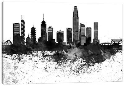 Hong Kong Black & White Drops Skyline Canvas Art Print