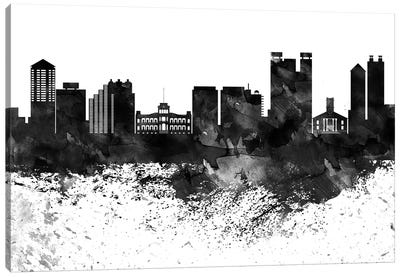 Honolulu Black & White Drops Skyline Canvas Art Print
