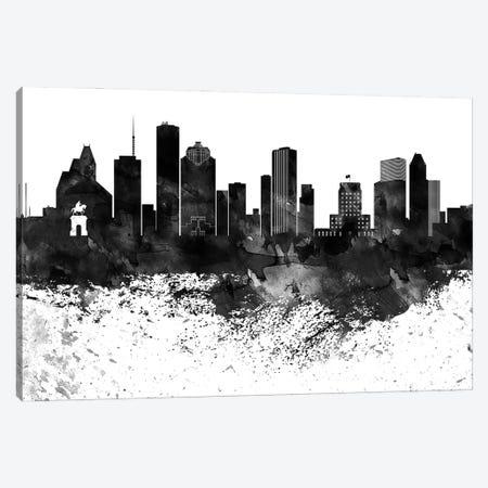 Houston Black & White Drops Skyline Canvas Print #WDA1167} by WallDecorAddict Canvas Wall Art