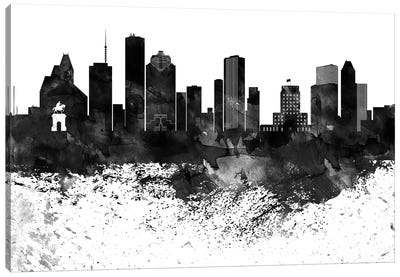 Houston Black & White Drops Skyline Canvas Art Print