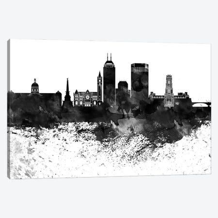 Indianapolis Black & White Drops Skyline Canvas Print #WDA1168} by WallDecorAddict Canvas Art Print