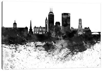 Indianapolis Black & White Drops Skyline Canvas Art Print