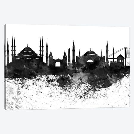 Istanbul Black & White Drops Skyline Canvas Print #WDA1169} by WallDecorAddict Canvas Art Print