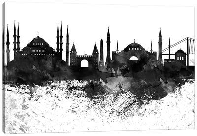 Istanbul Black & White Drops Skyline Canvas Art Print