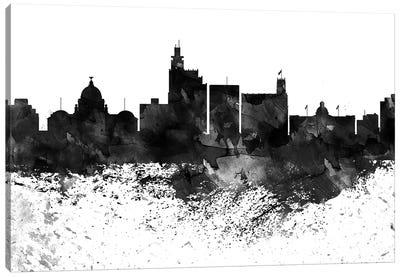 Jackson Mi Black & White Drops Skyline Canvas Art Print