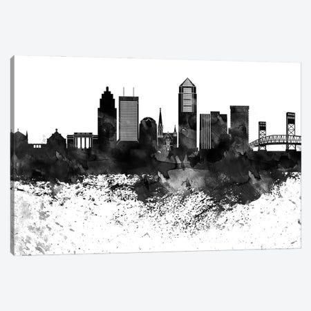 Jacksonville Black & White Drops Skyline Canvas Print #WDA1171} by WallDecorAddict Canvas Artwork
