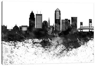 Jacksonville Black & White Drops Skyline Canvas Art Print